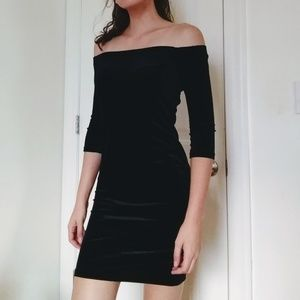 Ambiance Black Velvet Off the Shoulder Mini Dress